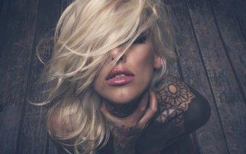 girl, blonde, portrait, look, model, tattoo, lips, sponge, closed eyes, jack russell