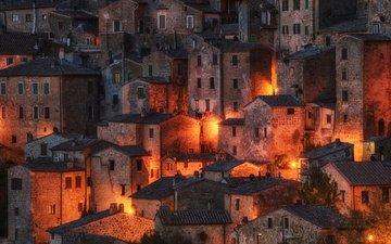 ночь, огни, город, италия, тоскана, sorano