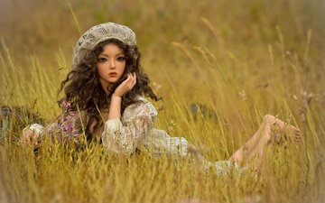 grass, look, toy, meadow, doll, hair, face