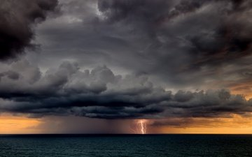 clouds, sea, lightning, horizon, the storm
