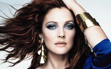 decoration, girl, portrait, look, hair, face, actress, makeup, drew barrymore