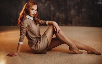 девушка, платье, взгляд, модель, ножки, волосы, лицо, рыжеволосая, юлия, anton zhilin