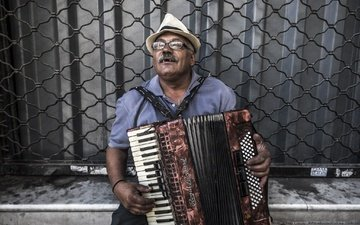 look, glasses, street, face, male, hat, musician, accordion