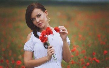 цветы, природа, улыбка, маки, модель, букет, белое платье, ангелина петрова