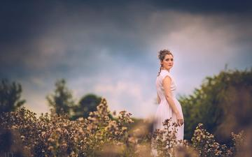 plants, girl, look, model, face, hairstyle, white dress, jessica drossin