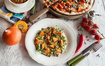 вилка, овощи, нож, помидоры, помидор, тыква, перец, пицца