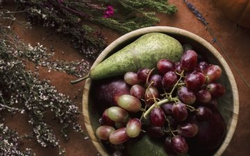 grapes, fruit, apples, wildflowers, pear, bowl