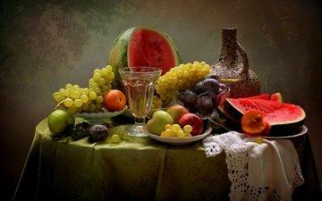 виноград, лето, фрукты, яблоки, арбуз, вино, натюрморт, сливы, нектарины