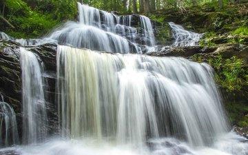 вода, водопад, поток