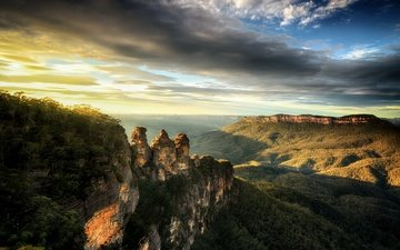 the sky, clouds, mountains, sunrise, australia, national park, blue mountains