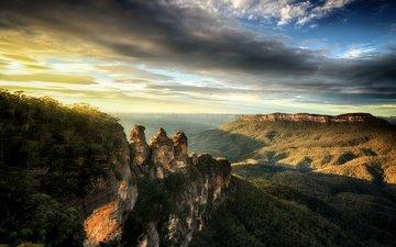 небо, облака, горы, восход, австралия, национальный парк, голубые горы