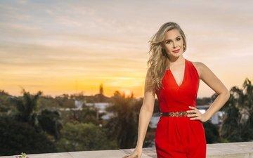 стиль, девушка, улыбка, взгляд, модель, лицо, красное платье