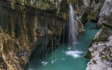 вода, река, скалы, водопад, голубая