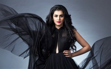 девушка, взгляд, волосы, лицо, актриса, макияж, черное платье, индийская, taapsee pannu, таапси панну