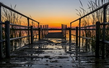 lake, the bridge, sunset, pierce, lake ontario, braddock bay