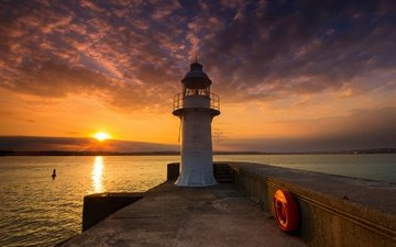 the sky, clouds, the sun, sunset, sea, lighthouse, england, lighthouse, berry head