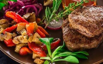 greens, vegetables, meat