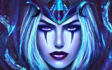 girl, look, hair, face, league of legends, ravenborn leblanc, league of legend