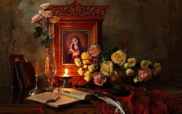 flowers, roses, books, vase, candle, pen, still life, andrey morozov, икона