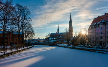 river, snow, winter, the city, sweden, stockholm, paulius malinovskis