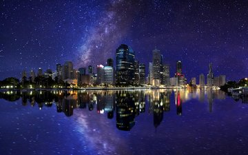 night, lights, reflection, stars, the city, australia, the milky way, qld, brisbane
