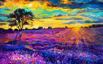 art, tree, sunset, picture, landscape, lavender, painting