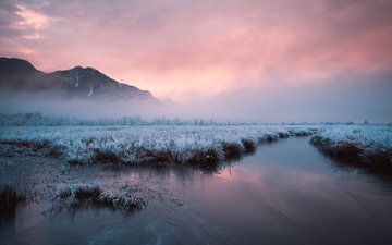 river, mountains, nature, sunset, winter, landscape