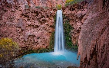 скалы, природа, пейзаж, водопад, сша, аризона, водопад хавасу, michael wilson, большой каньон