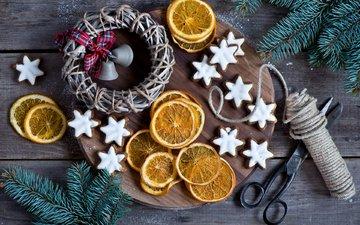 новый год, веревка, рождество, венок, печенье, выпечка, лимоны