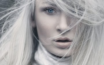 девушка, блондинка, портрет, взгляд, волосы, лицо