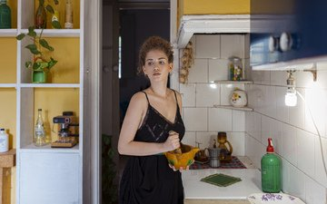 girl, look, house, kitchen, hair, face