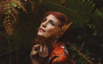 girl, portrait, look, red, hair, face, fern, freckles