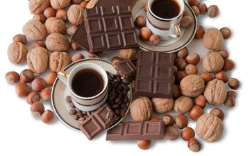 орехи, напиток, кофе, сладости, чашка, шоколад, десерт