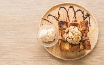 орехи, мороженое, шоколад, мед, десерт, бисквит, молочный шоколад