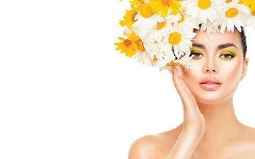 hand, girl, photo, model, makeup, wreath, daisies, gesture, anna subbotina