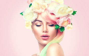 girl, photo, roses, face, makeup, hairstyle, wreath, 01