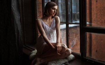 girl, dress, pose, brunette, model, window, sitting, evgeny reshetov