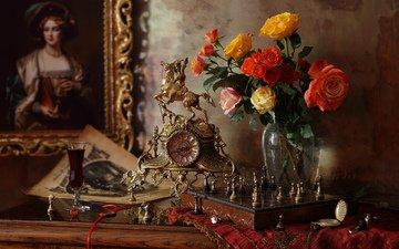 картина, шахматы, розы, часы, букет, ваза, натюрморт, бокал вина, андрей морозов