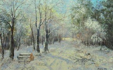 картина, пейзаж, живопись, зимний лес, małgorzata rawicka