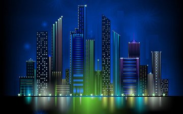 night, lights, vector, the city, graphics