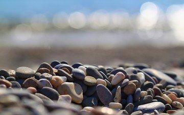 природа, камни, галька, макро, боке