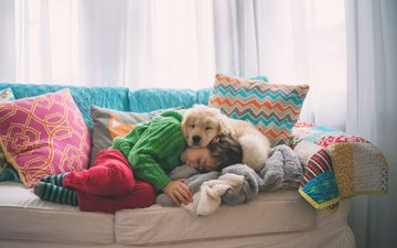 mood, pillow, sleep, dog, children, puppy, child, boy, sofa, friends, golden retriever