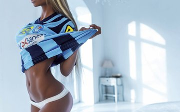 girl, blonde, panties, model, t-shirt, photoshoot