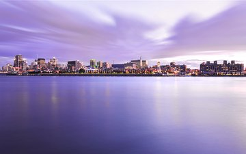 night, landscape, view, the city, usa, boston