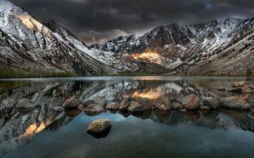 озеро, горы, природа, камни, отражение, пейзаж, matt granz