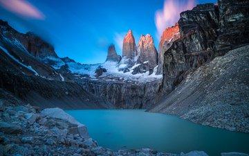 небо, облака, озеро, горы, природа