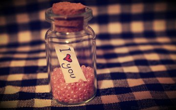 bottle, jar, beads, i love you
