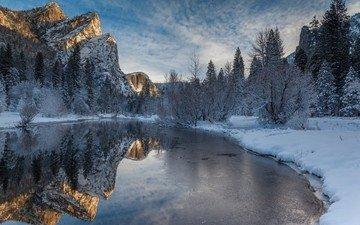 деревья, река, горы, снег, природа, зима, отражение, пейзаж