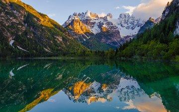 озеро, горы, природа, отражение, пейзаж, альпы, cortina d'ampezzo