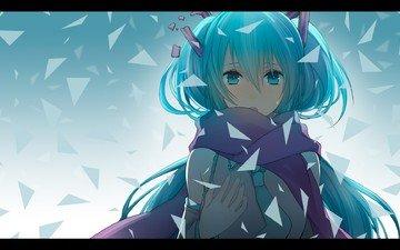 art, girl, anime, fragments, vocaloid, tears, scarf, hatsune miku, mangaka
